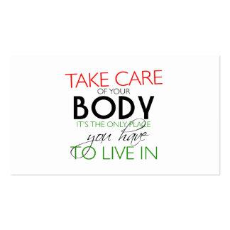Tome el cuidado de su tarjeta del nutricionista tarjetas de visita