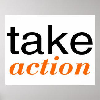 Tome el naranja de la acción impresiones