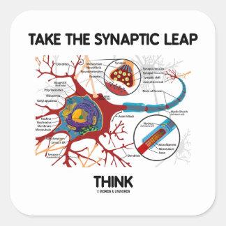 Tome el salto sináptico piensan (neurona/la pegatinas cuadradases