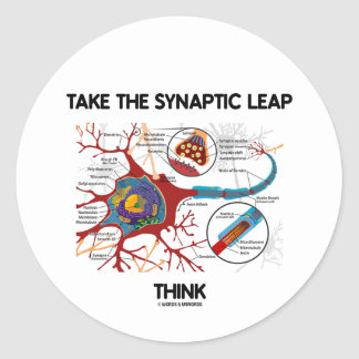 Tome el salto sináptico piensan (neurona/la pegatinas redondas