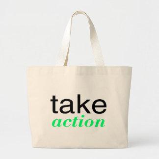 Tome el verde de la acción bolsa de tela grande