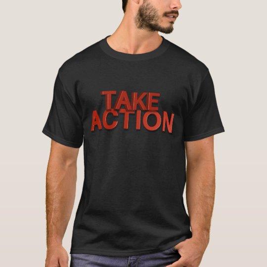 Tome la camiseta de la acción