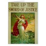 Tome la espada de la justicia por la perdiz de Ber Felicitaciones
