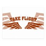 Tome las alas de la aviación del vuelo tarjeta postal