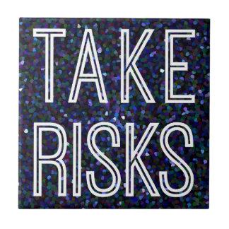 Tome los riesgos azules azulejo cuadrado pequeño