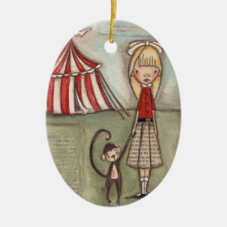 Tome mi mano, pequeño mono - ornamento de cerámica adorno de navidad