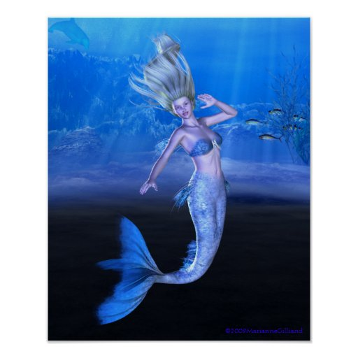 Tome mi mano y siga su arte de la sirena del coraz posters