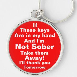 Tome mis llaves satisfacen llavero redondo plateado