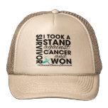 Tomé un soporte contra cáncer de cuello del útero  gorros bordados
