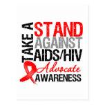 Tome un soporte contra el VIH del SIDA Tarjetas Postales