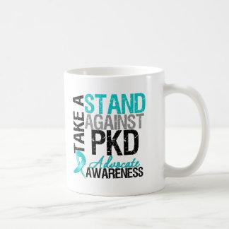 Tome un soporte contra enfermedad de riñón policís taza de café