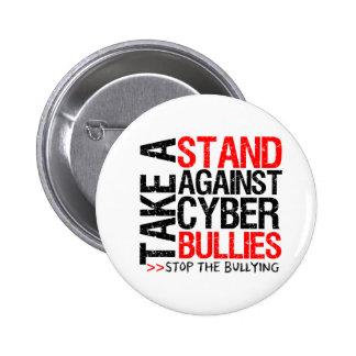 Tome un soporte contra matones cibernéticos pin redondo 5 cm