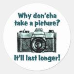 Tome una imagen etiquetas redondas