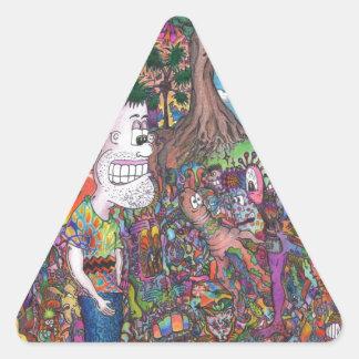 Tome una mirada pegatina triangular