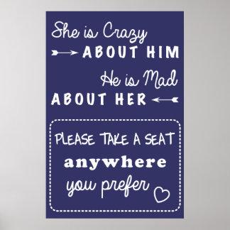 Tome una muestra del boda del asiento póster