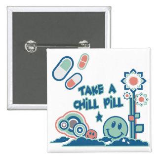 Tome una píldora desapasible pin cuadrado