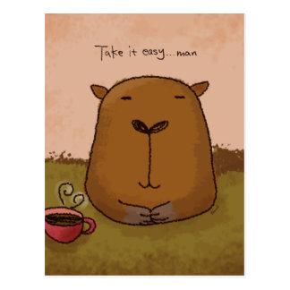 Tómelo fácil por la postal de la papá del Capybara