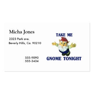 Tómeme el gnomo esta noche tarjetas de visita