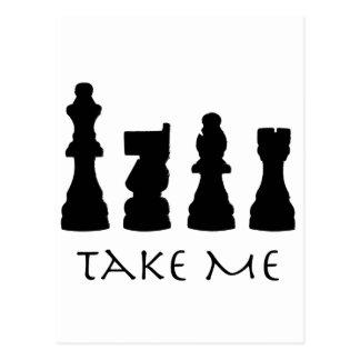 Tómeme los pedazos de ajedrez tarjetas postales