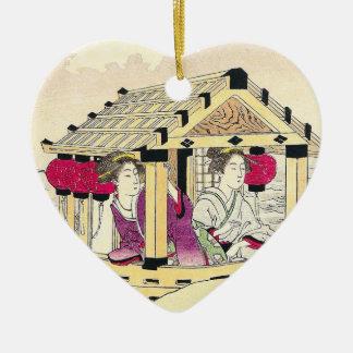 Tomioka Eisen in a pleasure boat japanese ladies Ceramic Ornament