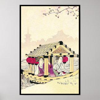 Tomioka Eisen in a pleasure boat japanese ladies Print