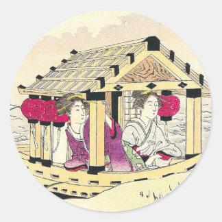 Tomioka Eisen in a pleasure boat japanese ladies Classic Round Sticker