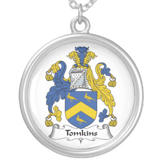 Tomkins Family Crest Round Pendant Necklace