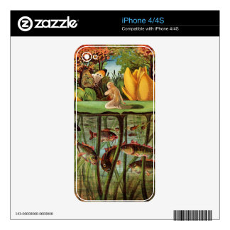 Tommelise muy solitario en la hoja del lirio de ag calcomanías para el iPhone 4