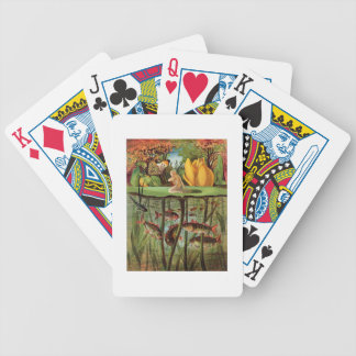 Tommelise very desolate on the water lily leaf, in bicycle playing cards