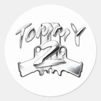 Tommy 2 Gunz Pegatina Redonda