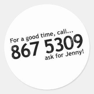 Tommy 867 5309 Tutone Pegatina Redonda