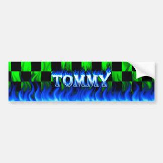Tommy blue fire and flames bumper sticker design.