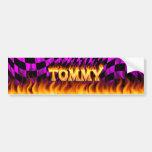 Tommy real fire and flames bumper sticker design. car bumper sticker