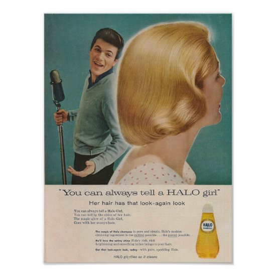 Tommy Sands 1958 Halo Shampoo Ad Poster