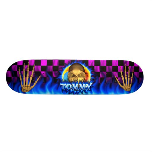 Tommy skull blue fire Skatersollie skateboard