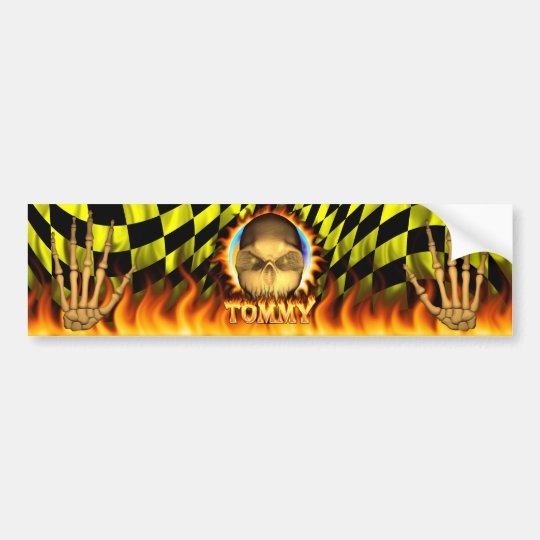 Tommy skull real fire and flames bumper sticker de