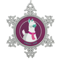 Tommy the Llama Snowflake Pewter Christmas Ornament