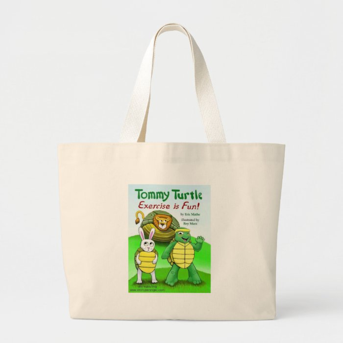 Tommy Turtle: Exercise is Fun! Large Tote Bag