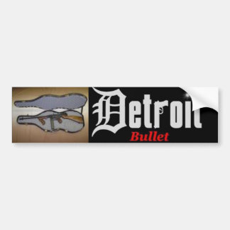 tommygun in guitarcase, detroit bullet bumper sticker