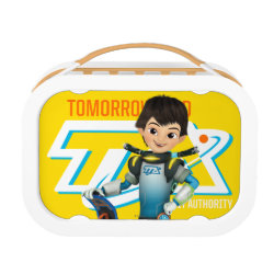 Orange yubo Lunch Box with Tomorrowland Transit Authority Logo design