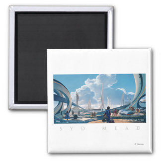Tomorrowland by Syd Mead 2 Inch Square Magnet