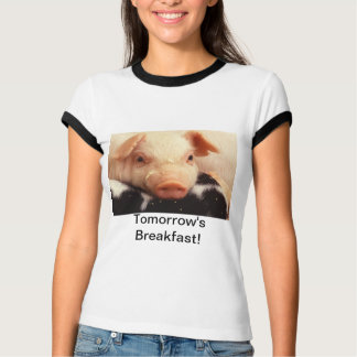 Tomorrow's Breakfast! Piglet Pig Adorable Face Sno T-Shirt