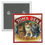 Toms Den Vintage Cigar Label 2 Inch Square Button
