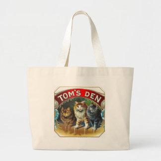 Toms Den Vintage Cigar Label Large Tote Bag