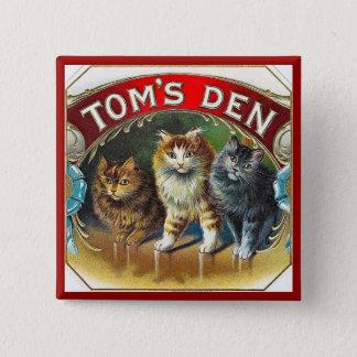 Toms Den Vintage Cigar Label Pinback Button