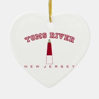 Toms River - faro de Barnegat Adorno De Cerámica En Forma De Corazón
