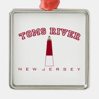 Toms River - faro de Barnegat Adorno Cuadrado Plateado