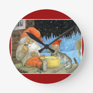 Tomte Nisse, aka Santa Clause Round Wall Clocks