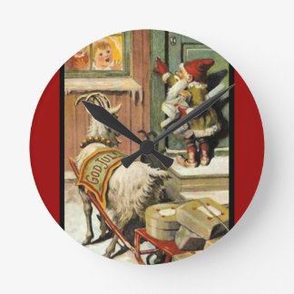 Tomte Nisse, aka Santa Clause Round Clocks