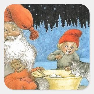 Tomte Nisse, aka Santa Clause Square Sticker